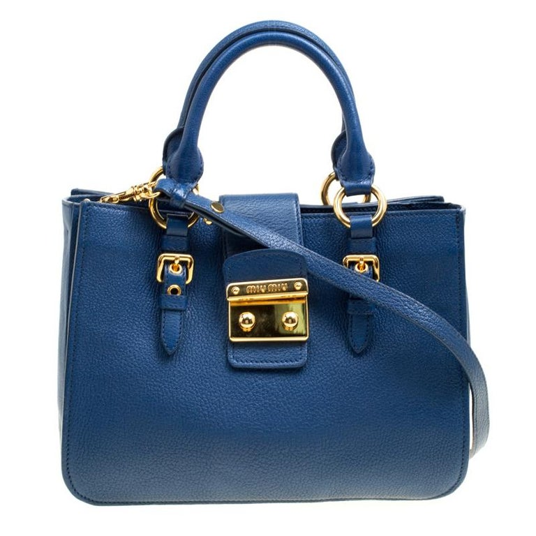 48df4d5e812d Miu Miu Blue Pebbled Leather Madras Top Handle Bag For Sale at 1stdibs