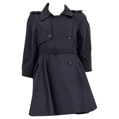 MIU MIU blue polyester DOUBLE BREASTED Trench Coat Jacket 42 M