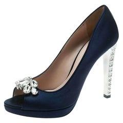 Miu Miu Blue Satin Crystal Embellished Heel Peep Toe Platform Pumps Size 39