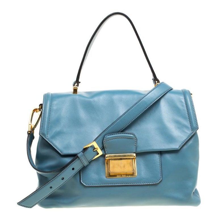 Miu Miu Blue Vitello Soft Leather Top Handle Bag at 1stdibs 5fd513aae4326