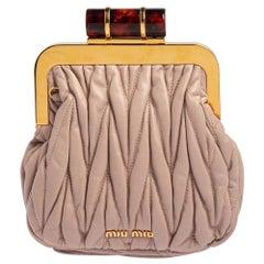 Miu Miu Blush Pink Leather Matelasse Clasp Clutch