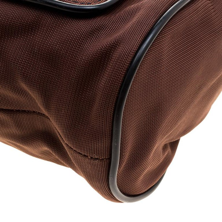 Miu Miu Brown/Black Nylon and Leather Messenger Bag For Sale 6