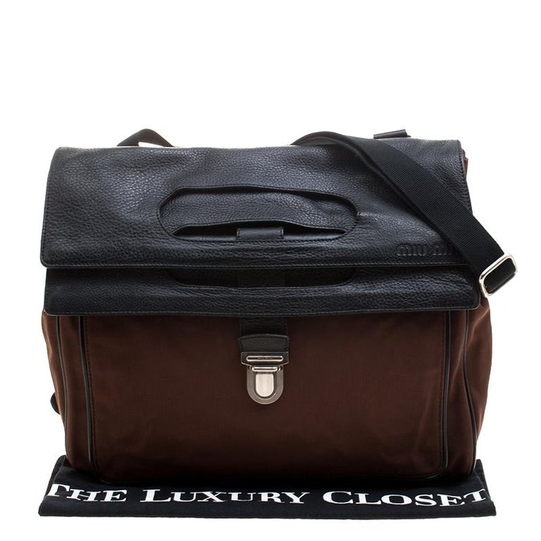 Miu Miu Brown/Black Nylon and Leather Messenger Bag For Sale 7