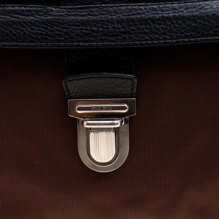Miu Miu Brown/Black Nylon and Leather Messenger Bag For Sale 1