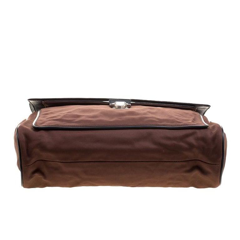 Miu Miu Brown/Black Nylon and Leather Messenger Bag For Sale 2