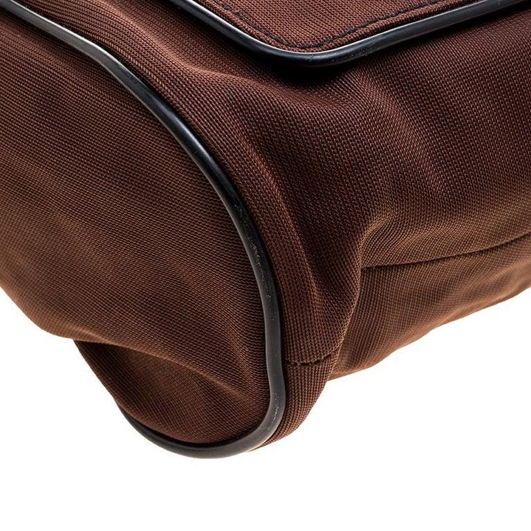 Miu Miu Brown/Black Nylon and Leather Messenger Bag For Sale 5