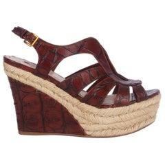 MIU MIU brown CROC EMBOSSED Espadrille Wedge Sandals Shoes 36.5