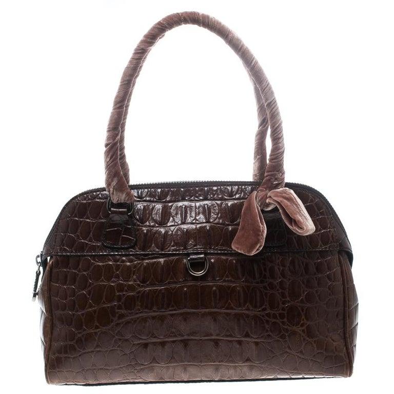 4fd364415726 Miu Miu Brown Croc Embossed Leather Bauletto Satchel For Sale at 1stdibs
