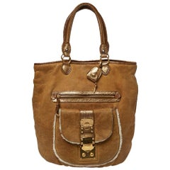 Miu Miu Brown Leather and Shearling Tote