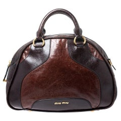 Miu Miu Brown Leather Bowler Bag