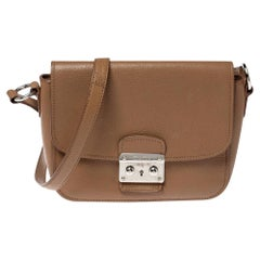 Miu Miu Brown Leather Madras Crossbody Bag