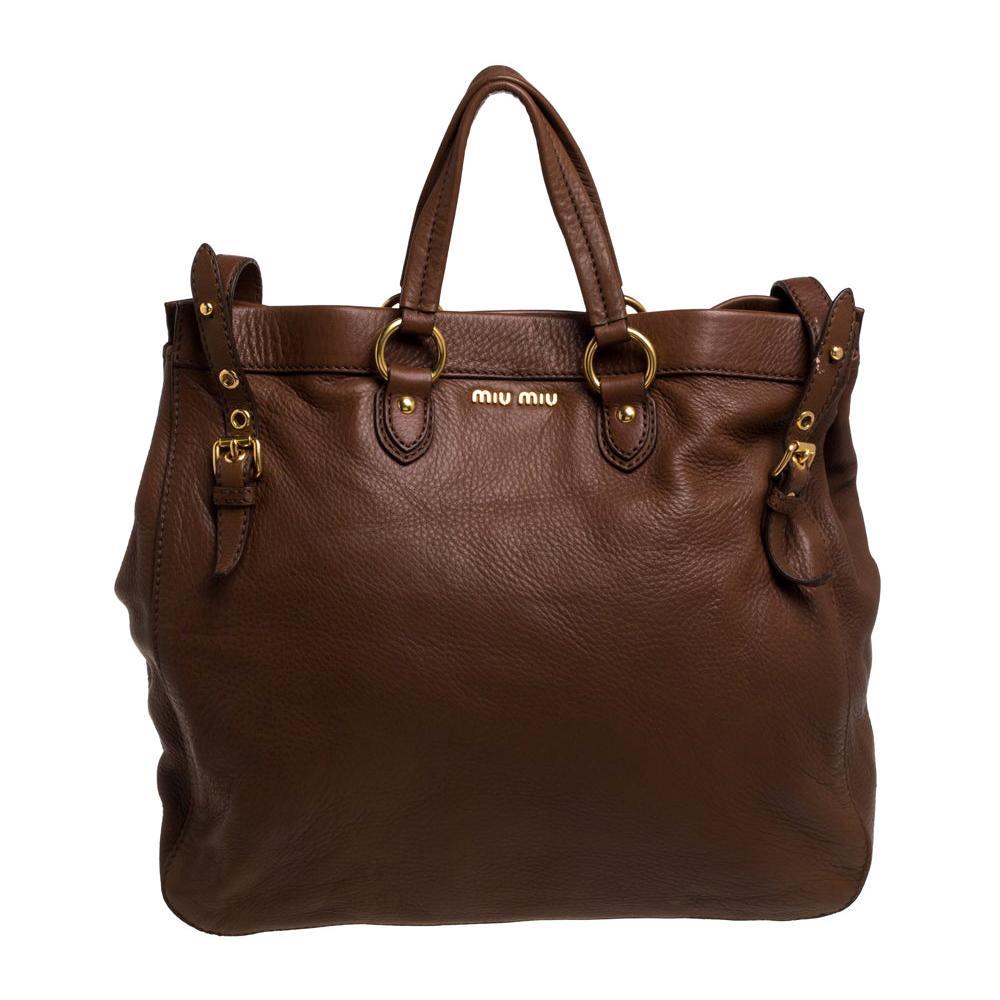 Miu Miu Brown Leather Shopper Tote