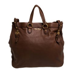 Miu Miu Brown Leather Shopper Tote