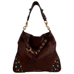 Miu Miu Brown Leather Studded Buffalo Stone Shoulder Bag Tote