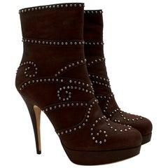 Miu Miu Brown Leather Studded Platform Ankle Boots - Size EU 41