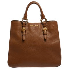 Miu Miu Brown Madras Leather Shopping Tote