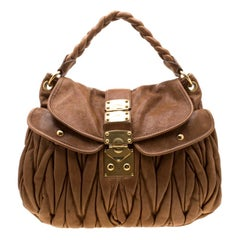 Miu Miu Brown Matelasse Leather Coffer Hobo