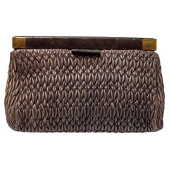 Miu Miu Brown Matelasse Leather Frame Clutch