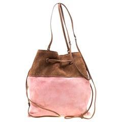 Miu Miu Brown/Pink Suede Drawstring Bucket Bag