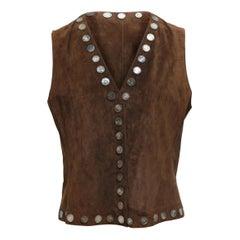 Miu Miu Brown Suede Embellished Vest