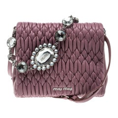 Miu Miu Bubble Gum Matelasse Leather Crystal Crossbody Bag