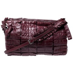 Miu Miu Burgundy Glossy Ruffled Leather Shoulder Bag