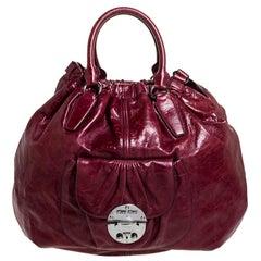 Miu Miu Burgundy Leather Front Pocket Hobo