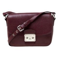 Miu Miu Burgundy Leather Madras Crossbody Bag