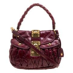 Miu Miu Burgundy Matelasse Lux Leather Small Coffer Hobo