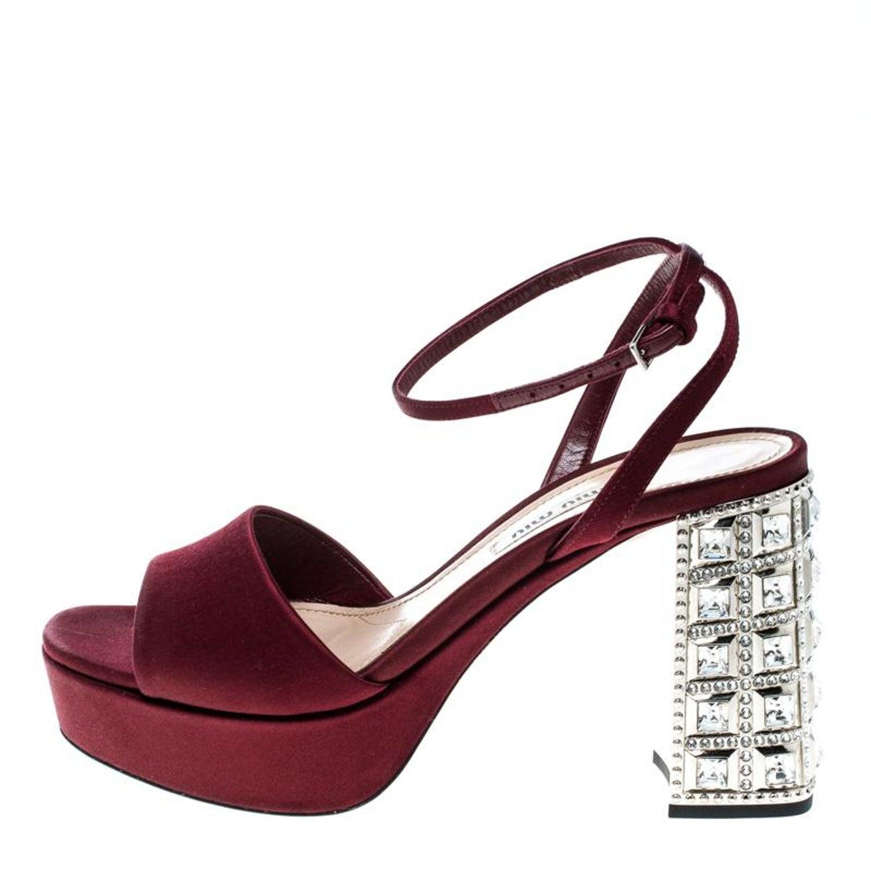 41e3203f4092 Miu Miu Burgundy Satin Crystal Embellished Block Heel Ankle Strap Sandals  Size36 For Sale at 1stdibs