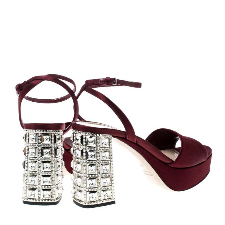 17032ccdd3 Miu Miu Burgundy Satin Crystal Embellished Block Heel Ankle Strap Sandals  Size36 In Good Condition For