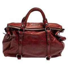 Miu Miu Burgundy Vitello Lux Leather Bow Satchel