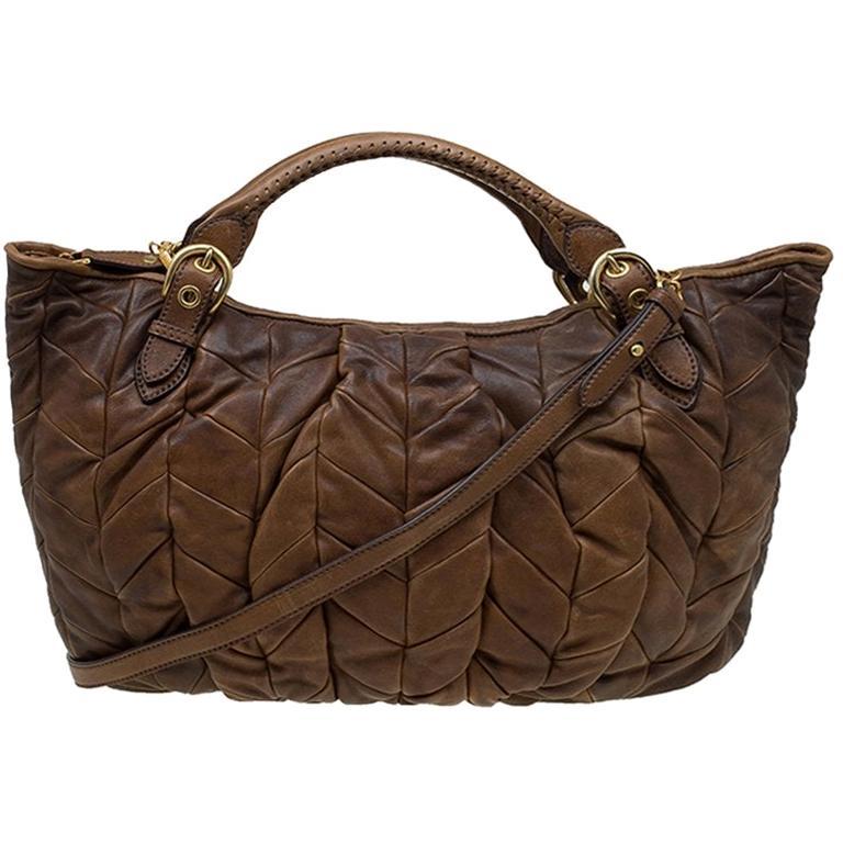 Miu Miu Cammello Patchwork Leather Tote