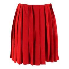 Miu Miu Cherry Red Pleated Raw Hem Mini Skirt S 42