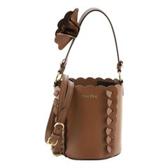 Miu Miu Convertible Bucket Bag Leather with Applique Small