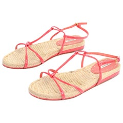 Miu Miu Coral Ankle Strap Leather & Woven Straw Sandals Size 37