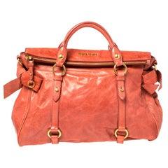 Miu Miu Coral Orange Vitello Lux Leather Bow Satchel