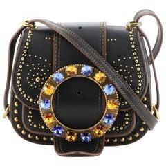 Miu Miu  Dahlia Crossbody Bag Crystal Embellished Leather Small