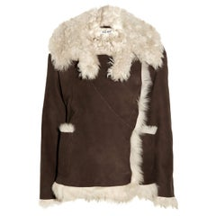 MIU MIU dark brown DOUBLE BREASTED SHEARLING Coat Jacket 40 S