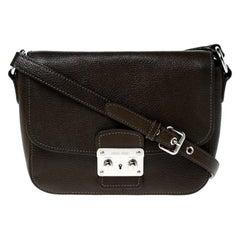 Miu Miu Dark Green Leather Pushlock Crossbody Bag