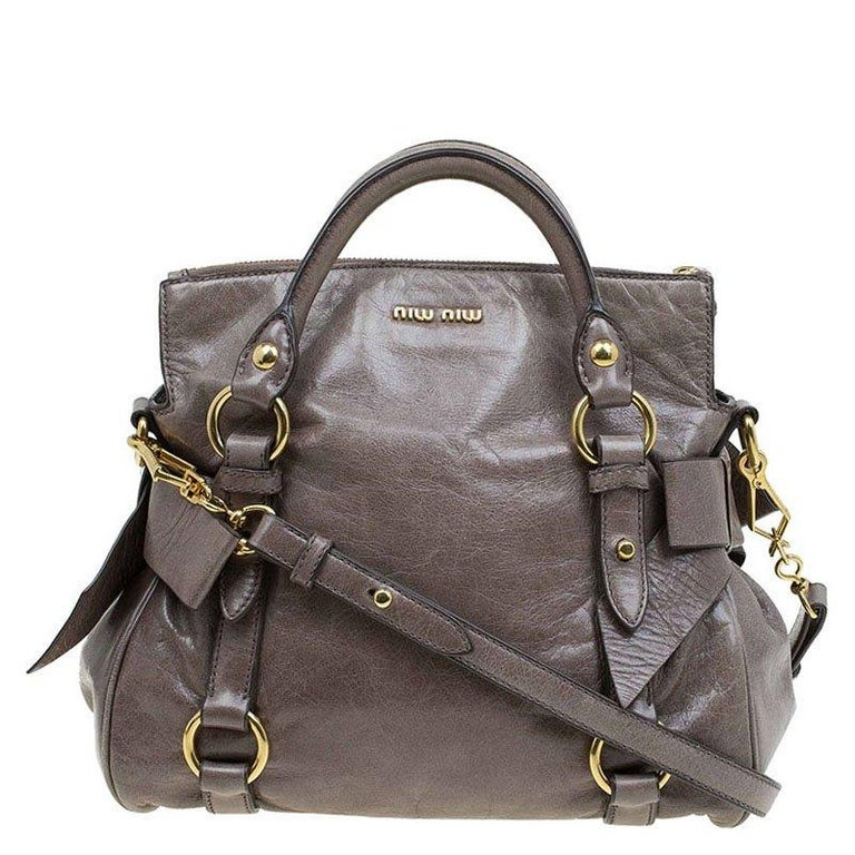 Miu Miu Dark Green Vitello Lux Leather Bow Top Handle Bag For Sale at  1stdibs d2f907b7e76a3