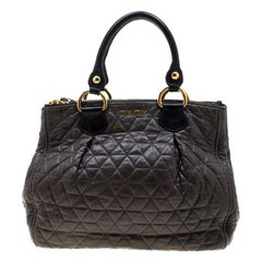Miu Miu Dark Grey/Black Quilted Leather Double Zip Tote