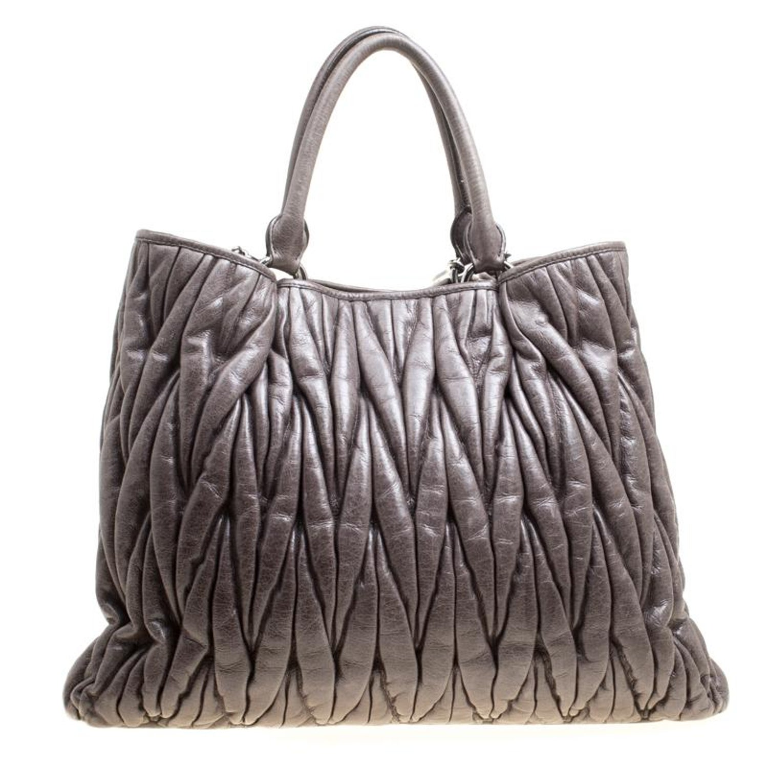 e2343d4eae86 Miu Miu Dark Grey Glazed Matelasse Leather Tote For Sale at 1stdibs