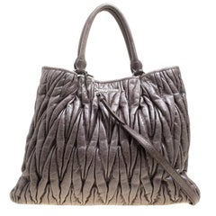 Miu Miu Dark Grey Glazed Matelasse Leather Tote