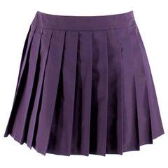 Miu Miu Dark Purple Silk Blend Pleated Skirt M 44