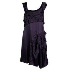 Miu Miu Deep Purple Silk Ruffle Detail Sleeveless Dress M