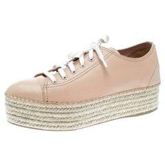 Miu Miu Dusty Pink Espadrille Platform Sneakers Size 40