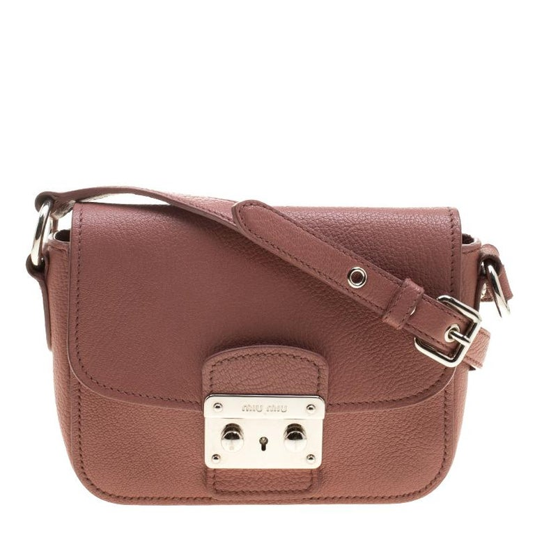 9150095e03af Miu Miu Dusty Pink Leather Madras Shoulder Bag at 1stdibs