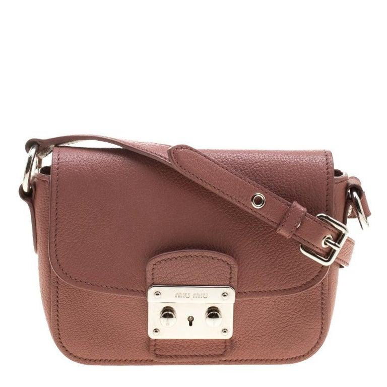 16a0ae70d08 Miu Miu Dusty Pink Leather Madras Shoulder Bag at 1stdibs