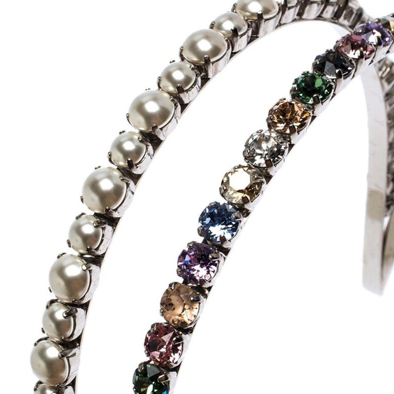 Miu Miu Faux Pearl and Crystal Embellished Silver Tone Head Band For Sale 1